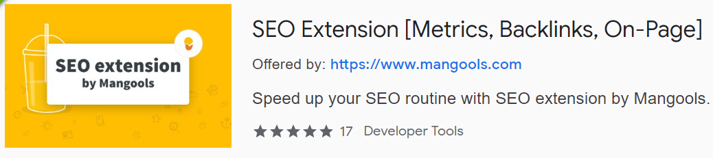 SEO Quick Inspection of Metrics, Backlinks & On-page with SEO extension by Mangools