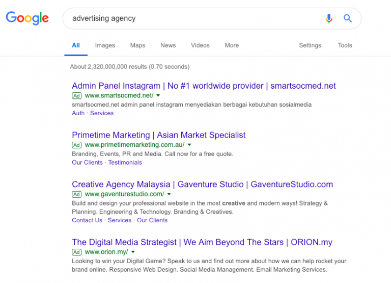 Example of Paid Search Ads on Google Search
