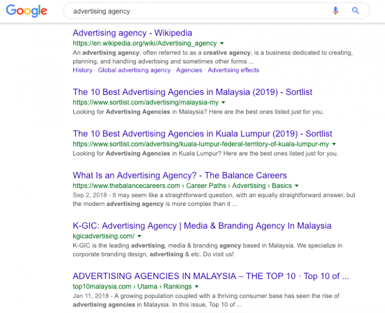 Example of organic search results on Google Search